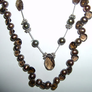 Chan Luu Pearl and Smoky Topaz Necklace Set